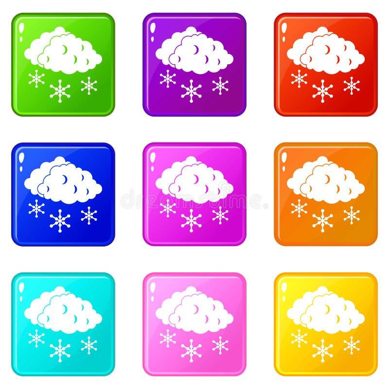 Nuvens e grupo dos ícones 9 da neve ilustração stock