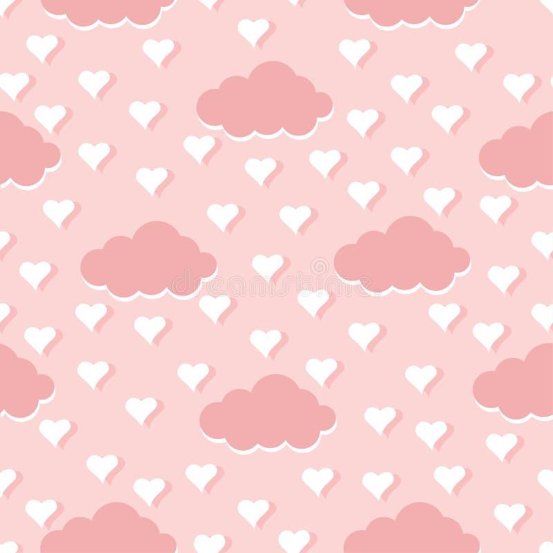Nuvens e ilustração sem emenda do vetor do fundo do teste padrão dos corações ilustração do vetor