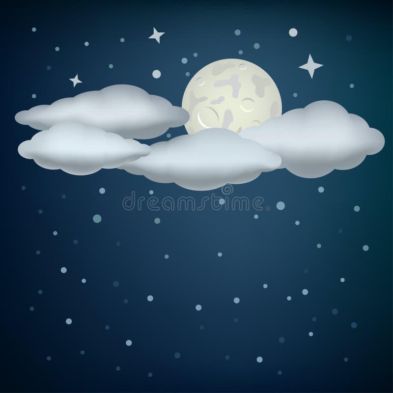 Nuvens e lua ilustração do vetor