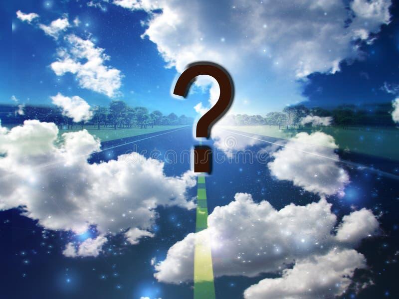 Nuvens e pergunta da estrada ilustração royalty free