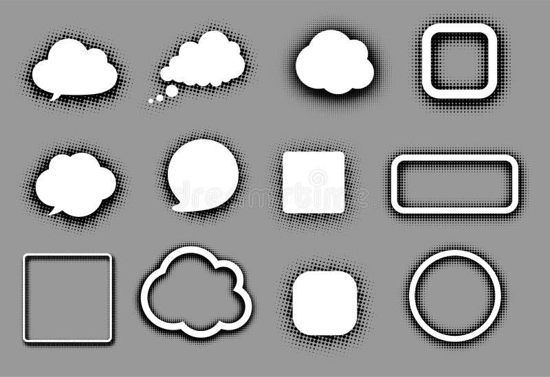 Nuvens e quadros brancos do discurso no cinza ilustração do vetor