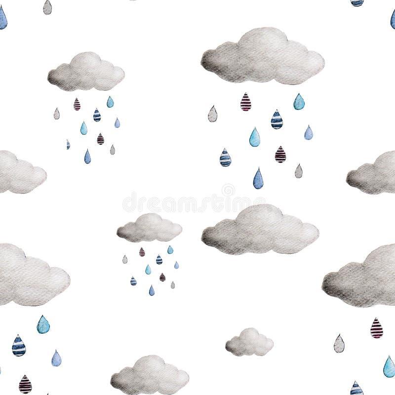 Nuvens e teste padrão sem emenda das gotas da chuva ilustração stock