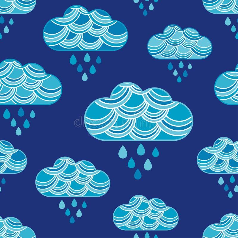 Nuvens e teste padrão sem emenda das gotas da chuva ilustração do vetor
