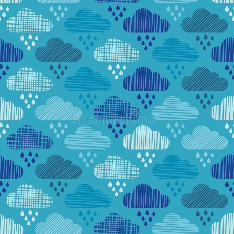 Nuvens e teste padrão sem emenda das gotas da chuva Textura dos cursos ilustração stock