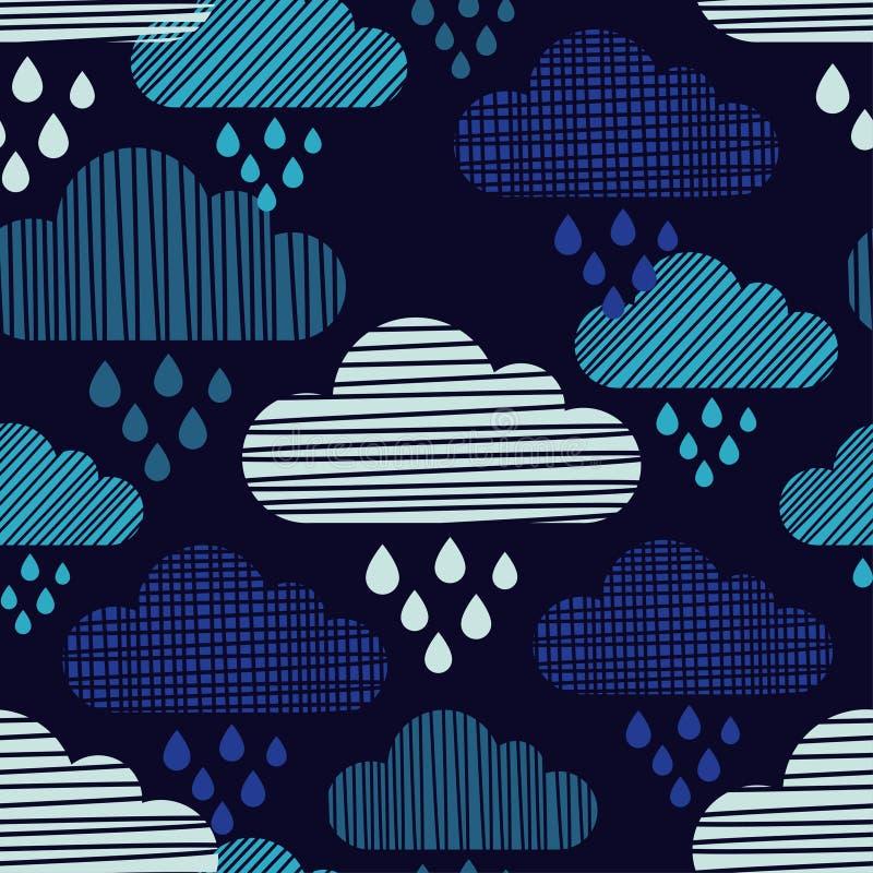 Nuvens e teste padrão sem emenda das gotas da chuva Textura dos cursos ilustração royalty free