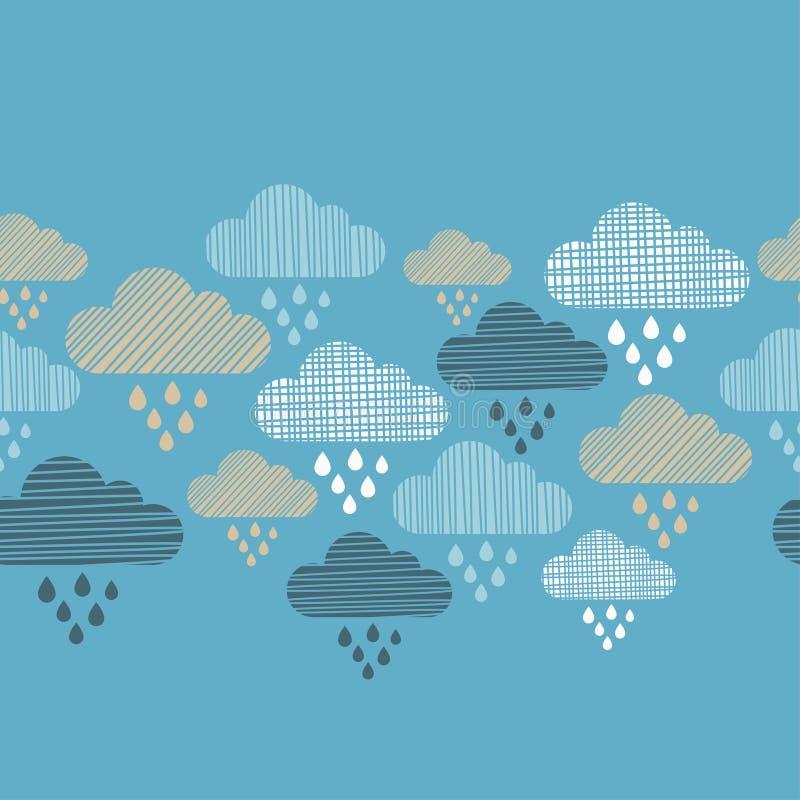 Nuvens e teste padrão sem emenda das gotas da chuva Textura dos cursos ilustração do vetor