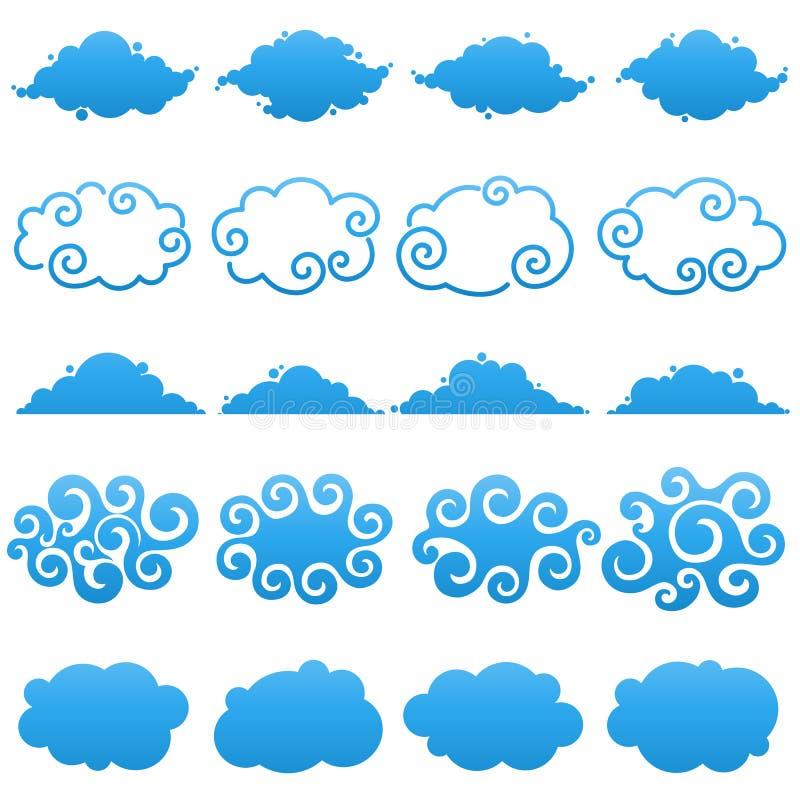 Nuvens. Elementos para o projeto. ilustração do vetor