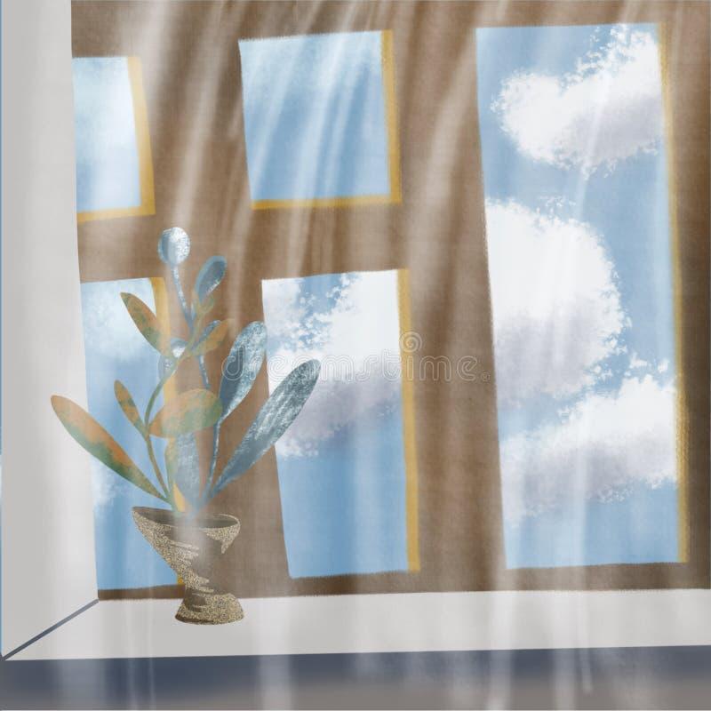Nuvens fora da janela no c?u azul ilustração royalty free