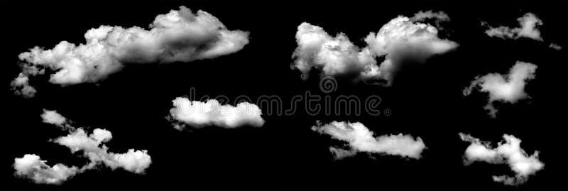 Nuvens isoladas no baclground preto fotografia de stock royalty free