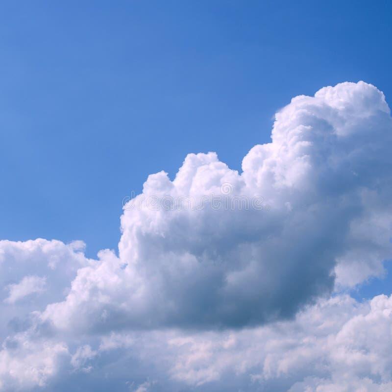 Nuvens macias brancas no céu azul vasto Natureza abstrata Backgr imagens de stock royalty free
