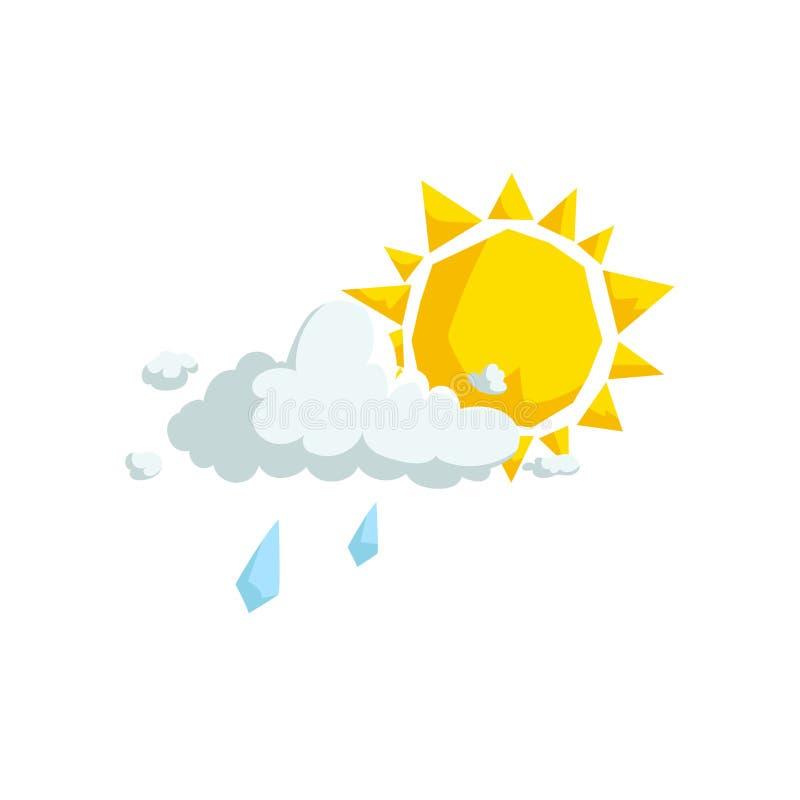 Nuvens macias do projeto na moda dos desenhos animados com ícone da chuva ligeira e do sol verão e vetor do tempo ilustração stock