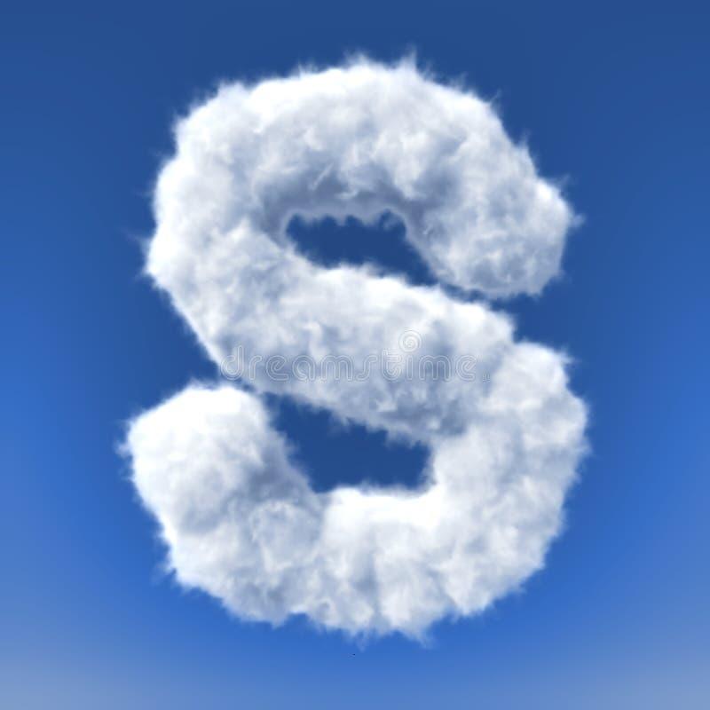 Nuvens na fôrma da letra ilustração do vetor