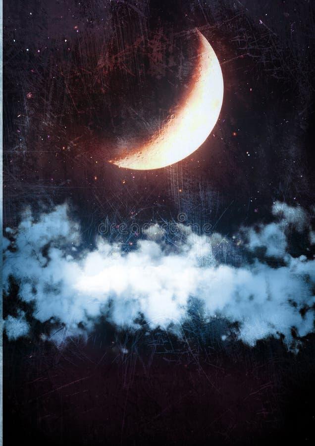 Nuvens na noite ilustração royalty free