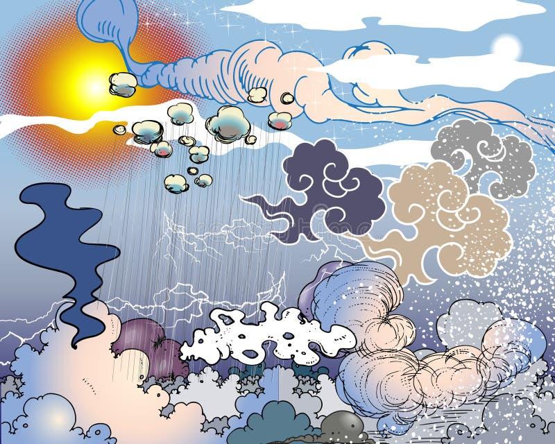 Nuvens no céu ilustração stock