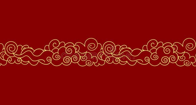Nuvens orientais sem emenda do vetor, ilustração dourada do esboço, elemento luxuoso do projeto, molde da beira ilustração stock