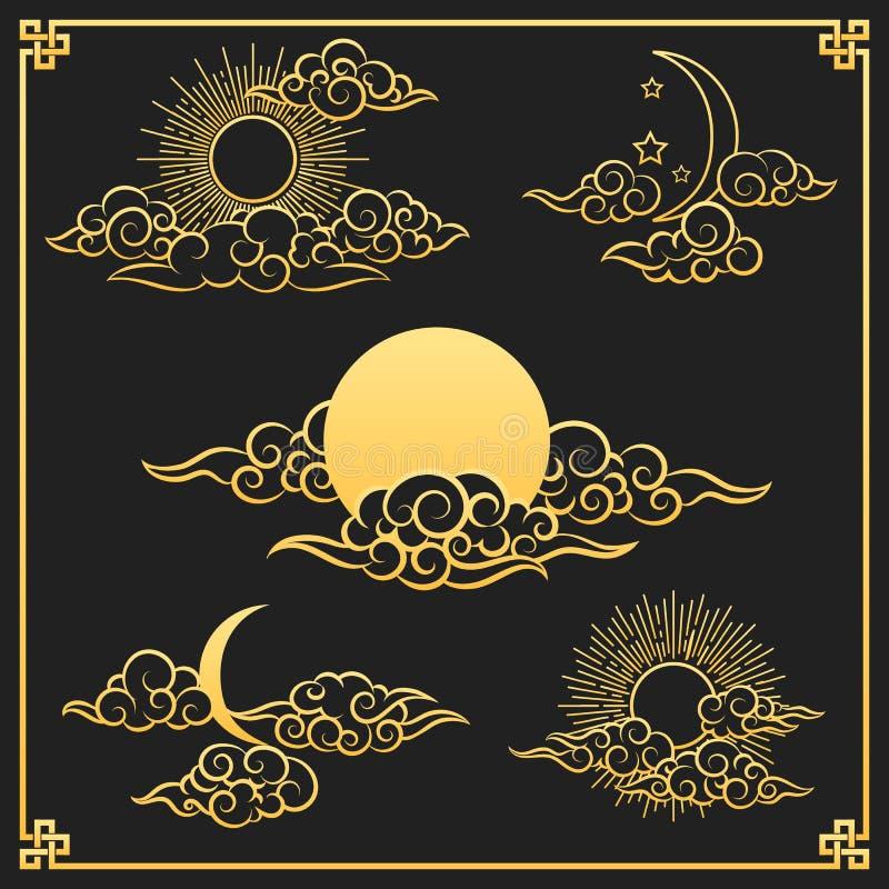 Nuvens orientais, sol e lua do ouro ilustração royalty free
