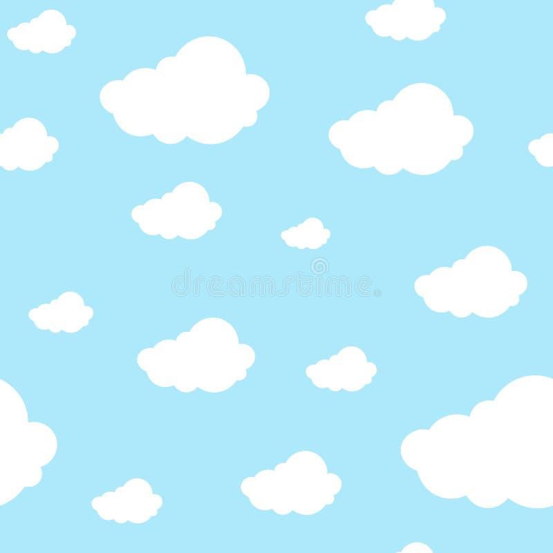 Nuvens sem emenda bonitas do teste padrão contínuas em claro - fundo azul Projeto impresso gráfico repetível para algum produto ilustração stock