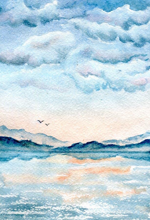 Nuvens sobre o mar, ilustração pintado à mão da aquarela ilustração do vetor