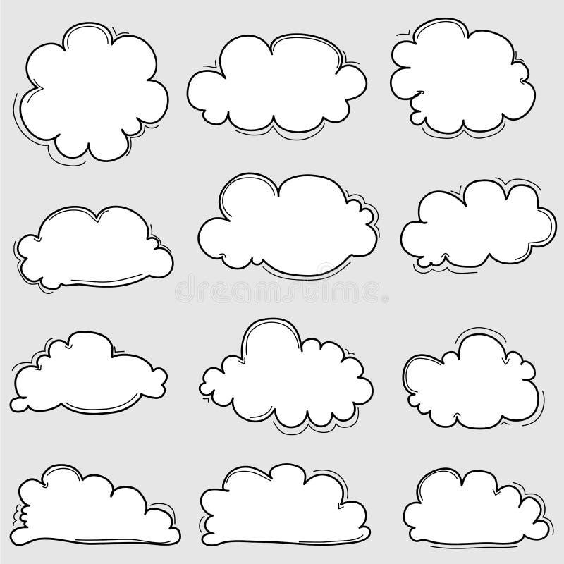 Nuvens tiradas mão ajustadas ilustração stock