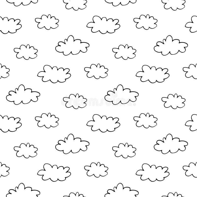 Nuvens tiradas mão da tinta foto de stock