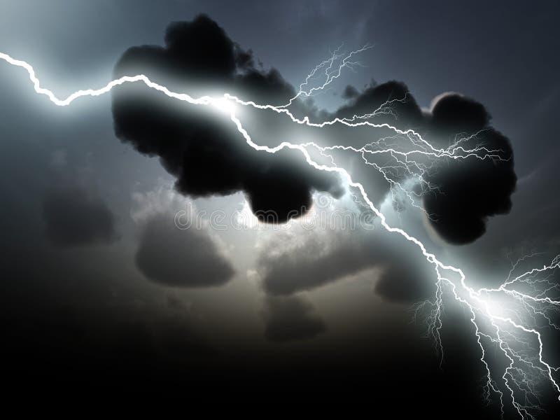 Nuvens tormentosos com relâmpagos ilustração royalty free