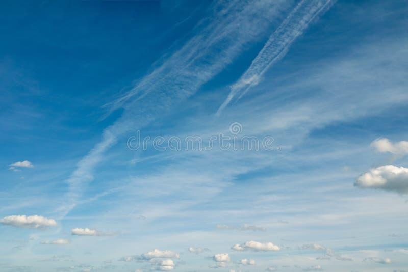 Nuvens transparentes pequenas que voam contra o céu azul imagem de stock royalty free