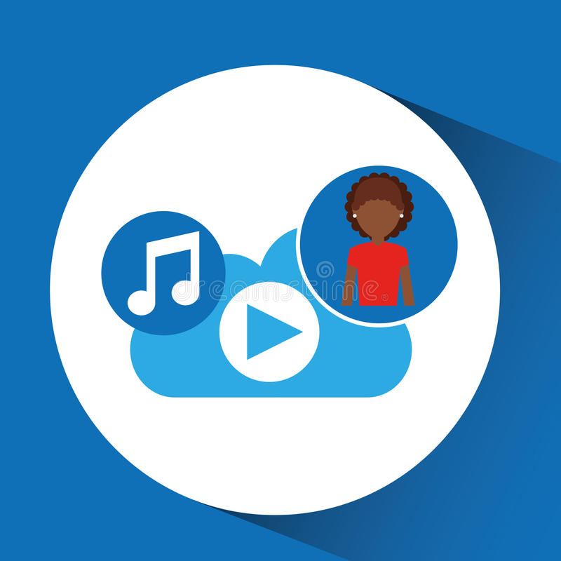 Nuvola app di musica della ragazza di afro del fumetto royalty illustrazione gratis