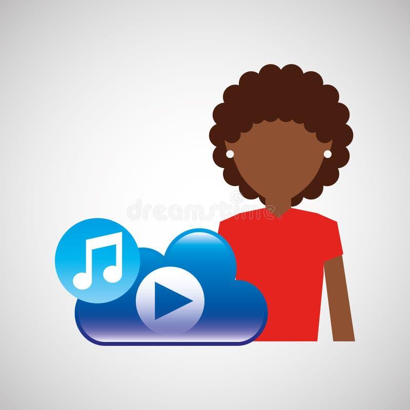 Nuvola app di musica della ragazza di afro del fumetto illustrazione vettoriale
