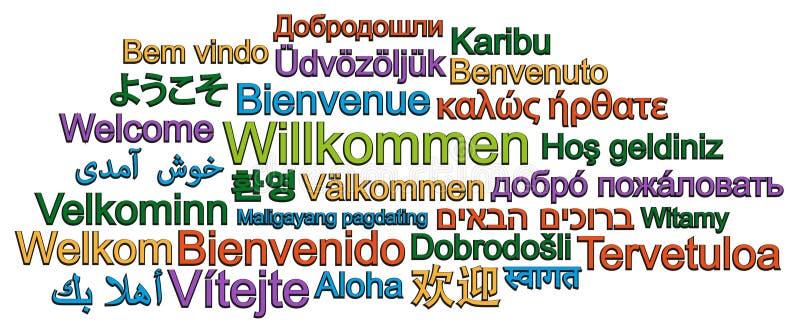 Nuvola BENVENUTA di parola in molte lingue differenti illustrazione vettoriale