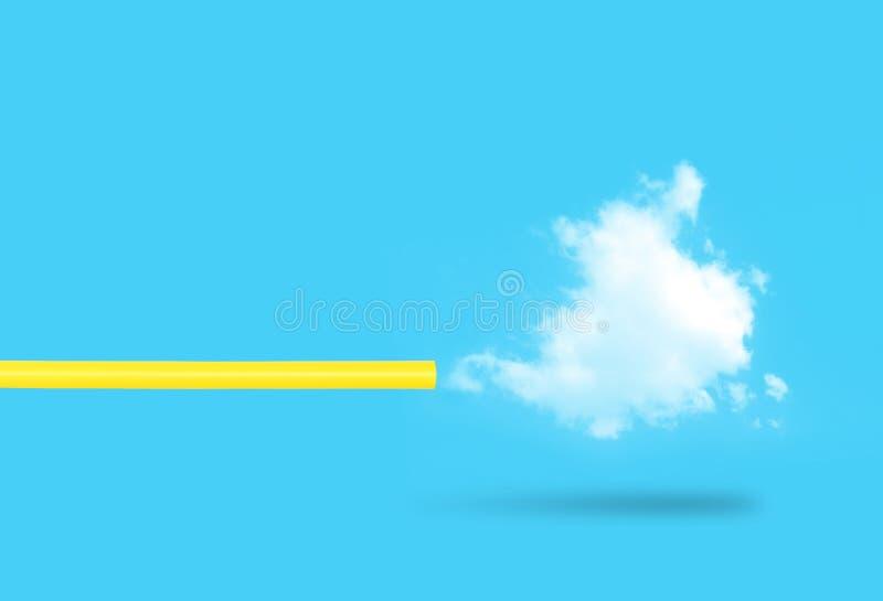 Nuvola bianca di salto della paglia gialla con fondo blu illustrazione di stock