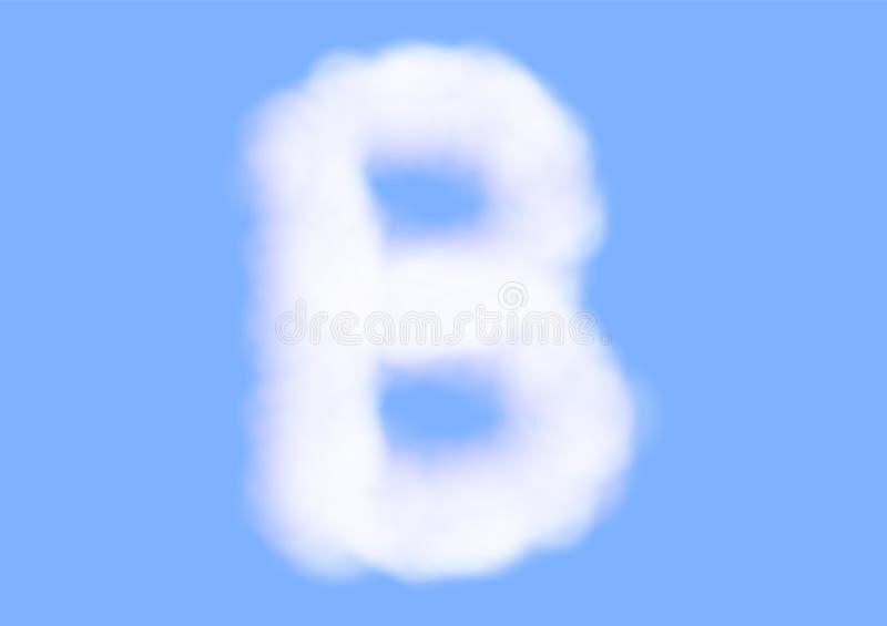Nuvola bianca realistica s di consonante sul fondo del cielo blu, bello carattere della nuvola dell'aria, tipografia della letter illustrazione di stock
