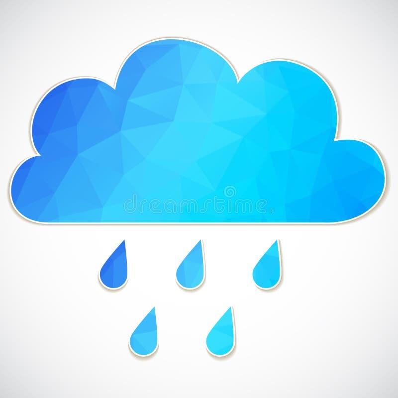 Nuvola blu con goccia di pioggia dei triangoli illustrazione vettoriale