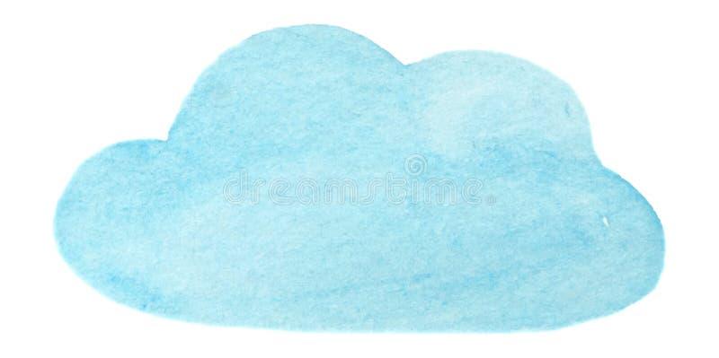 Nuvola blu della pittura dell'acquerello di vettore isolata su bianco per la vostra progettazione illustrazione vettoriale