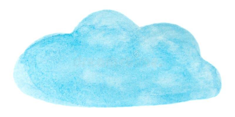 Nuvola blu della pittura dell'acquerello di vettore isolata su bianco per la vostra progettazione illustrazione di stock