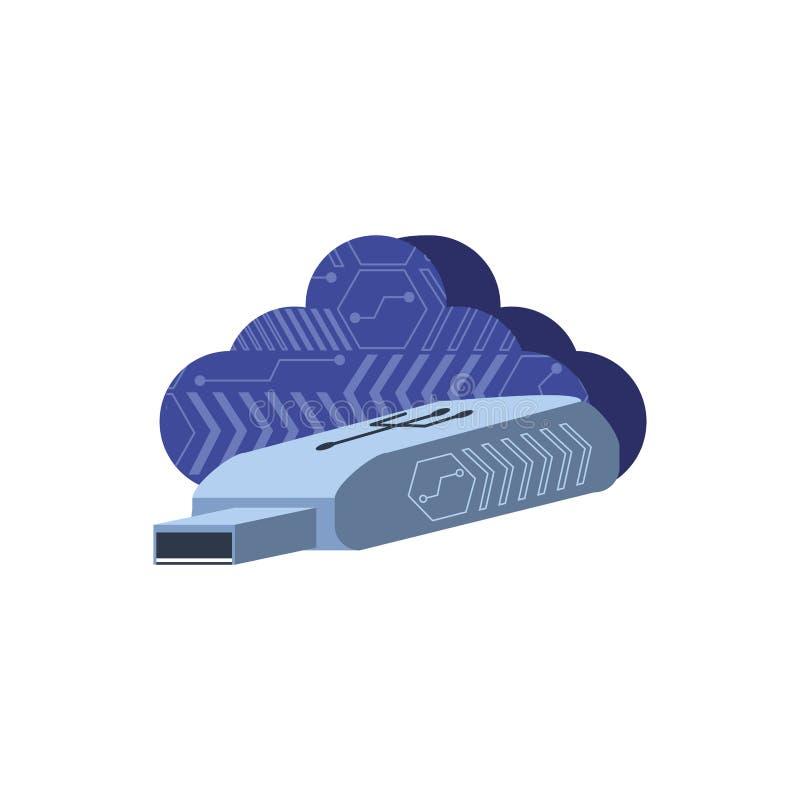 Nuvola che computa con il usb del dispositivo illustrazione di stock