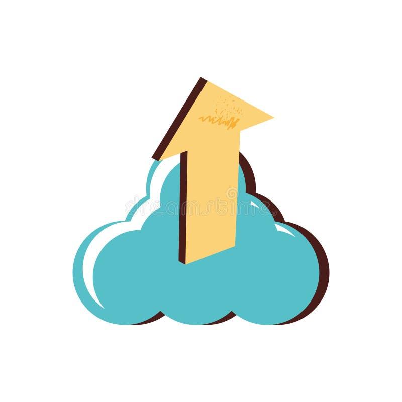 Nuvola che computa con la freccia su illustrazione vettoriale
