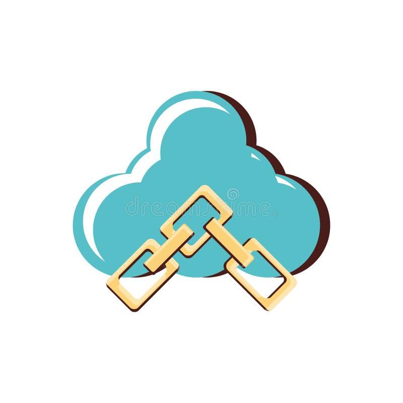 Nuvola che computa con le catene illustrazione di stock