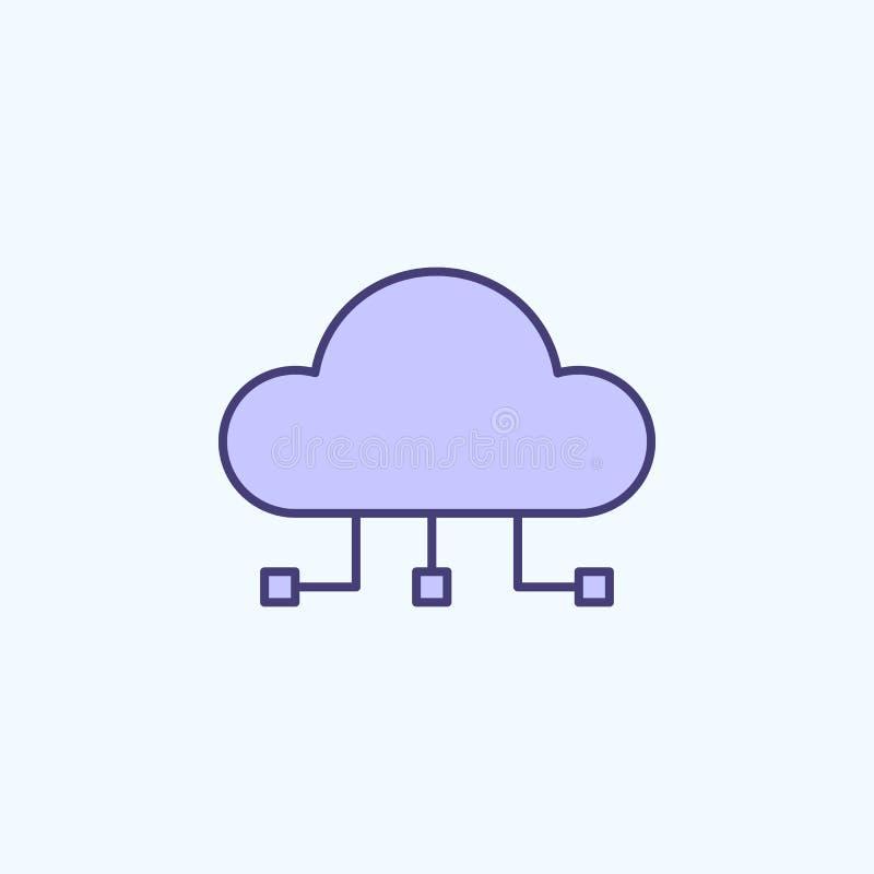 nuvola che computa 2 linea colorata icona Illustrazione semplice dell'elemento colorato progettazione di calcolo di simbolo del p illustrazione di stock