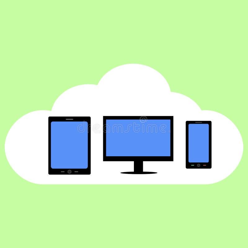 Nuvola che computa nello stile piano illustrazione di stock