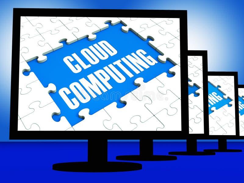 Nuvola che computa sui videi che mostrano le reti di sistema illustrazione di stock