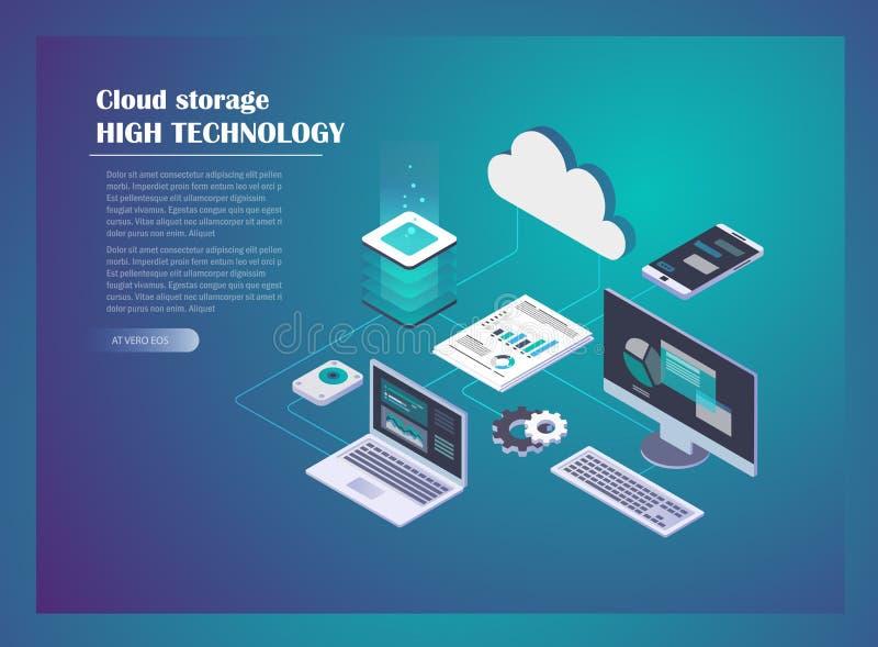 Nuvola che ospita concetto della rete illustrazione vettoriale