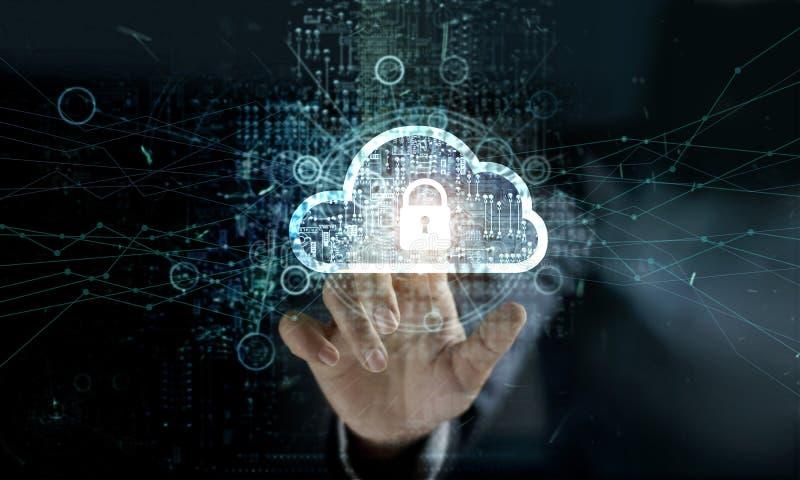 Nuvola commovente dell'uomo d'affari con l'icona del lucchetto sulla rete immagine stock