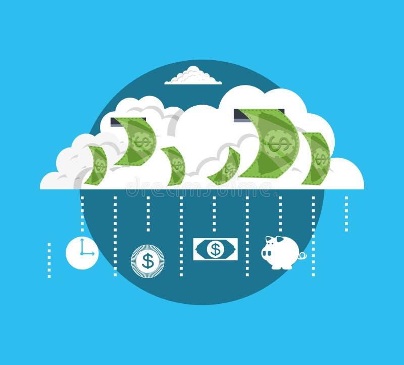Nuvola con i soldi del dollaro della fattura illustrazione di stock