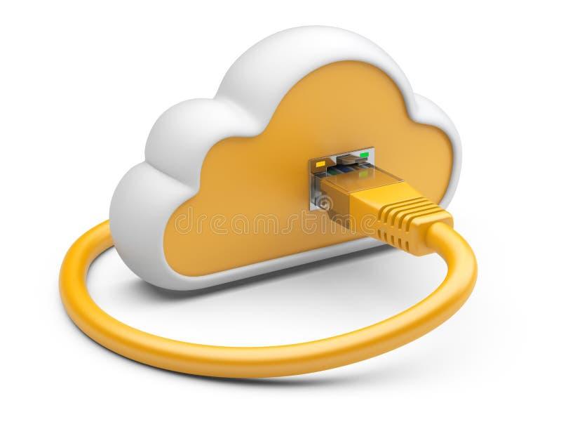 Nuvola con una spina arancio della rete illustrazione 3d su un BAC bianco illustrazione vettoriale