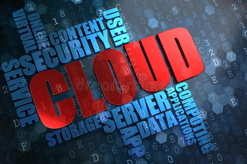 Nuvola. Concetto di Wordcloud. illustrazione vettoriale