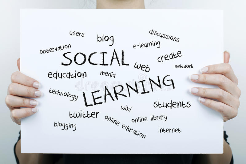 Nuvola d'apprendimento sociale di parola fotografie stock libere da diritti