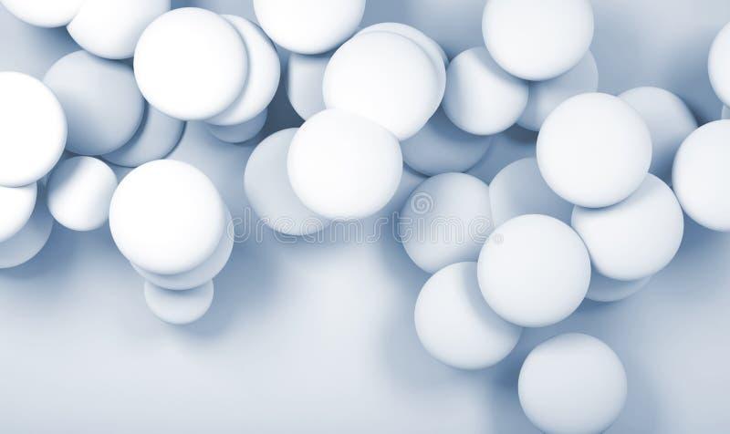 nuvola 3d degli oggetti sferici astratti bianchi illustrazione di stock