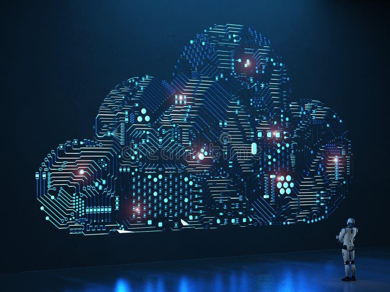 Nuvola del circuito con il robot illustrazione vettoriale