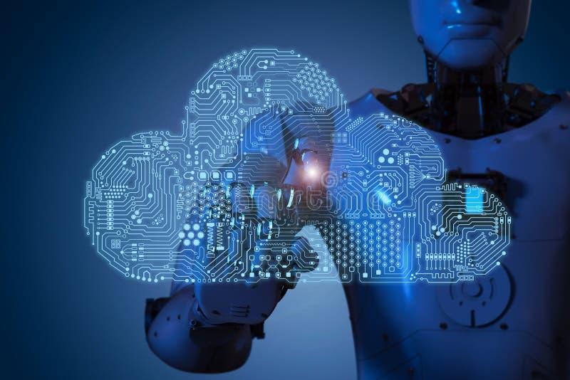 Nuvola del circuito con il robot illustrazione di stock