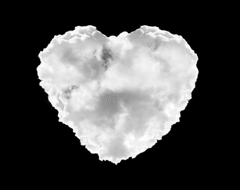 Nuvola del cuore dell'illustrazione su fondo nero Per il montaggio o pubblicare nel modo di mescolamento immagine stock